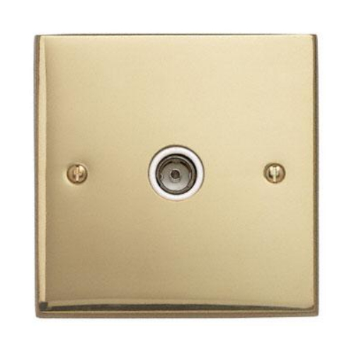 Contactum 3147EBW 1g TV/FM Coaxial Edwardian Plain Brass Socket