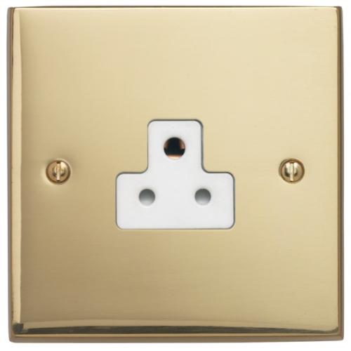 Contactum 3315EBW 1gang 2amp Edwardian Plain Brass Socket