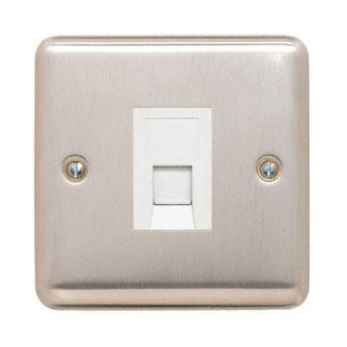 Contactum REF3180BSW Reflect Single RJ45 CAT5e Data Socket Brushed Steel