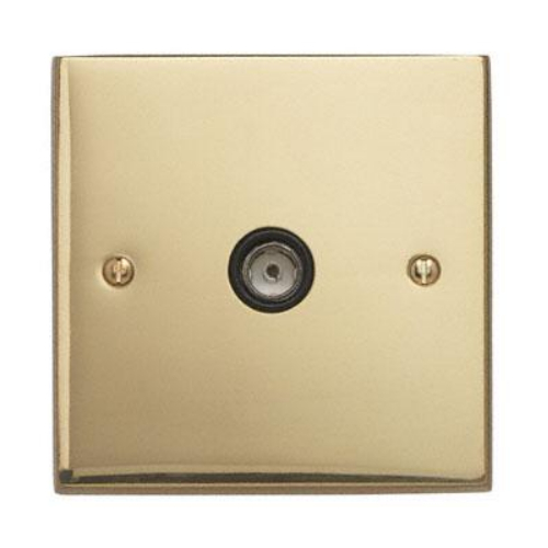 Contactum 3147EBB 1g TV/FM Coaxial Edwardian Plain Brass Socket