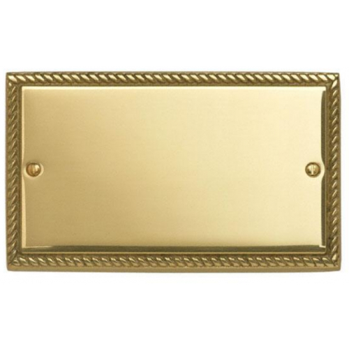 Contactum 3027GB 2g Georgian Rope Polished Brass Blanking Plate