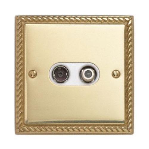 Contactum 3150GBW 2g Coaxial & Satellite Georgian Brass TV Socket