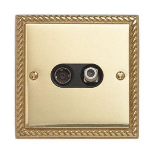 Contactum 3150GBB 2g Coaxial & Satellite Georgian Brass TV Socket