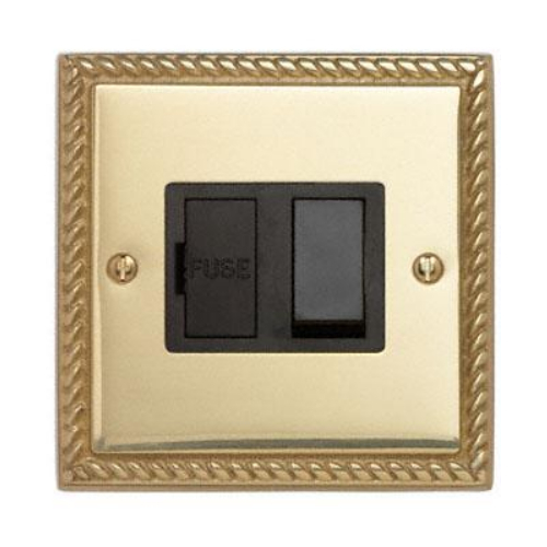 Contactum 3366GBB 13a Georgian Rope Edge Brass Switched Spur
