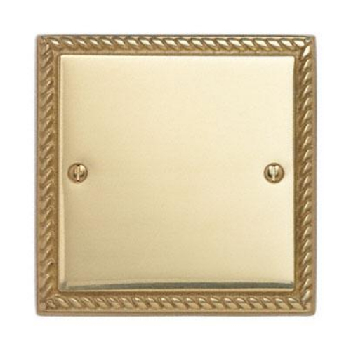 Contactum 3017GB 1g Georgian Rope Polished Brass Blanking Plate