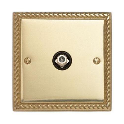 Contactum 3151GBB 1g Satellite socket Georgian Polished Brass