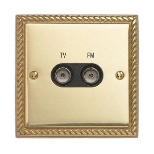 Contactum 3158GBB 1g plate TV & FM Diplexer Georgian Brass Socket