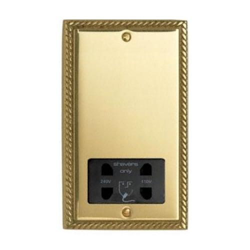Contactum 3300GBB 110/230v Georgian Brass Shaver Socket