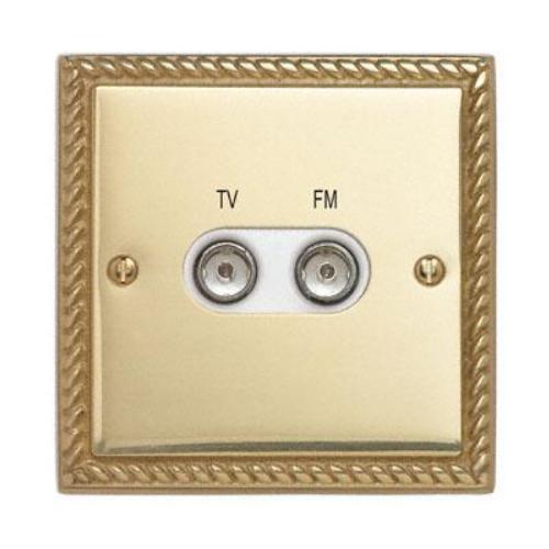 Contactum 3158GBW 1g plate TV & FM Diplexer Georgian Brass Socket