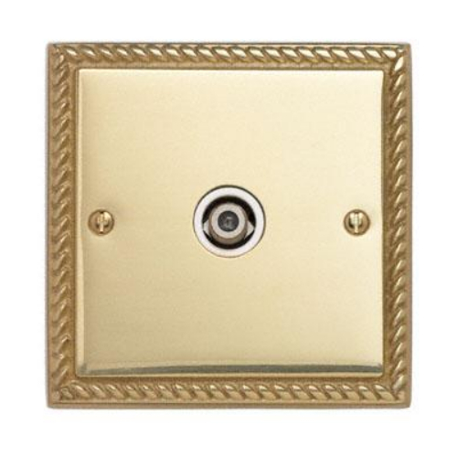 Contactum 3151GBW 1g Satellite socket Georgian Polished Brass