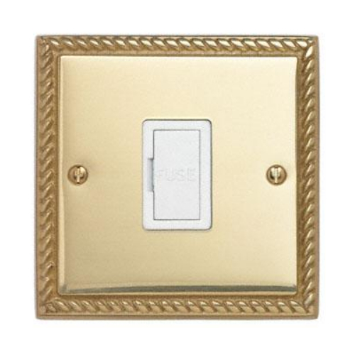 Contactum 3364GBW 13a Georgian Rope Polished Brass Un-Switched Spur
