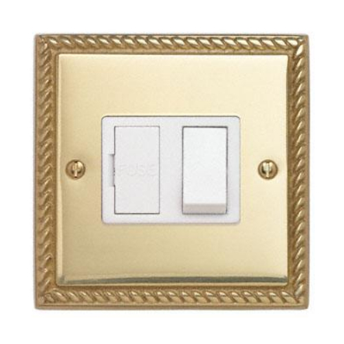 Contactum 3366GBW 13a Georgian Rope Edge Brass Switched Spur
