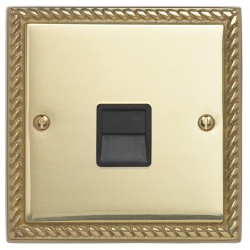 Contactum 3170GBB 1g Slave BT Telephone Socket Georgian Brass Socket