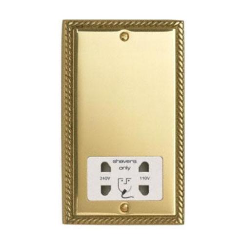 Contactum 3300GBW 110/230v Georgian Brass Shaver Socket