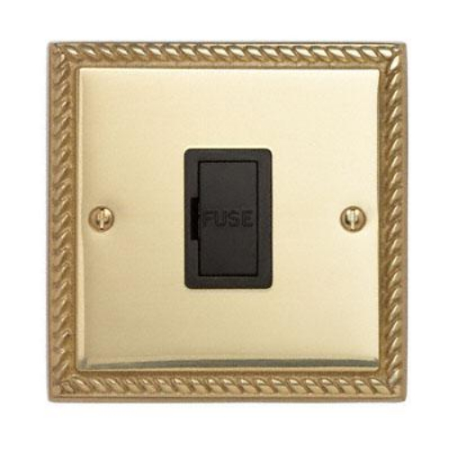 Contactum 3364GBB 13a Georgian Rope Polished Brass Un-Switched Spur