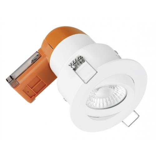 Aurora Enlite EN-DE62PROW/30 LED Dimmable 6w IP20 Fire Rated Tilt Downlight 3k White Bezel