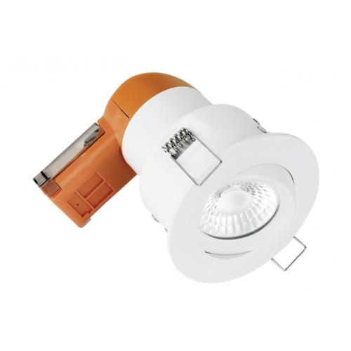 Aurora Enlite EN-DE62PROMW/30 LED Dimmable 6w IP20 Fire Rated Tilt Downlight 3k Matt White Bezel