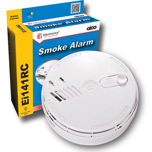Aico EI141RC 240v Ionisation Smoke Alarm + Base