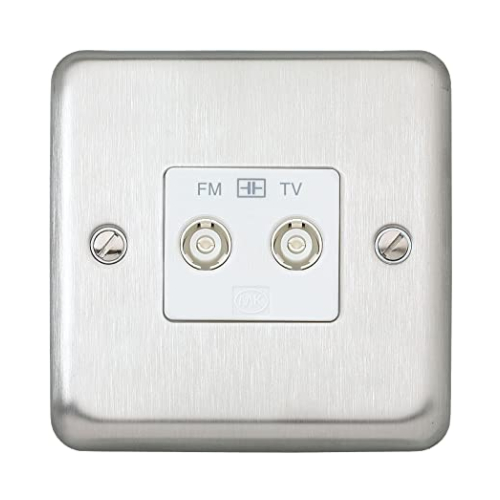 MK K3582BSS Twin Isolated TV/FM Coaxial Socket Brushed Stainless Steel