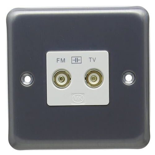 MK K3582MCO Twin Isolated TV/FM Coaxial Socket Matt Chrome