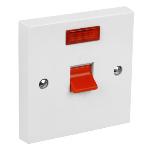 CED  CS45N 45a Double Pole Switch + Neon white (1gang square plate)