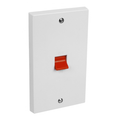 CED  CSD45 45a Double Pole Switch white (2gang Oblong plate)