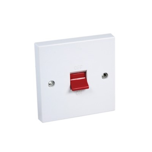 CED  CS45 45a Double Pole Switch white (1gang square plate)