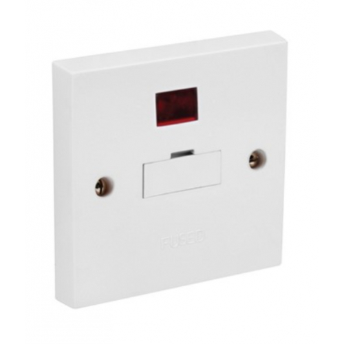 CED SPN 13a Fused connection unit with neon, side flex outlet White