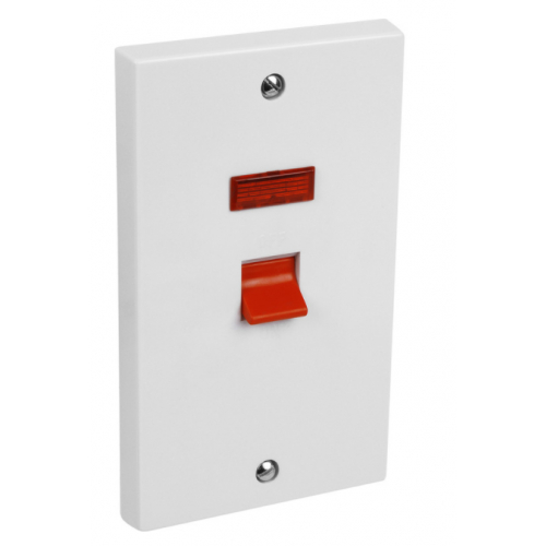 CED  CSD45N 45a Double Pole Switch + Neon white (2gang Oblong plate)