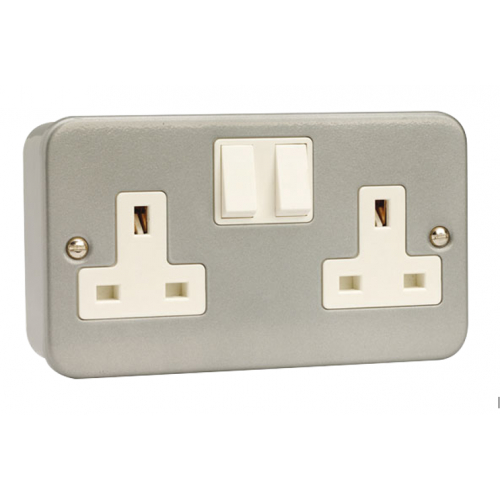 Click Scolmore CL036 2 Gang 13a DP Metalclad Switch Socket