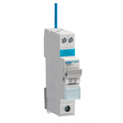 Hager ADA306G 6a 30ma B Curve RCBO Type A(AC and Pulsating DC Sensitive)