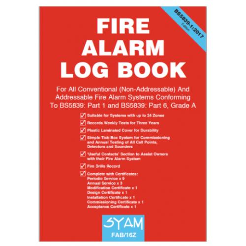 Syam FAB/16Z Fire Alarm log book