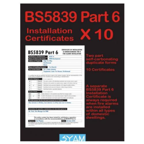 Syam CERT/FAP6 BS5839 Part 6 Domestic Smoke/Heat Pad of 10