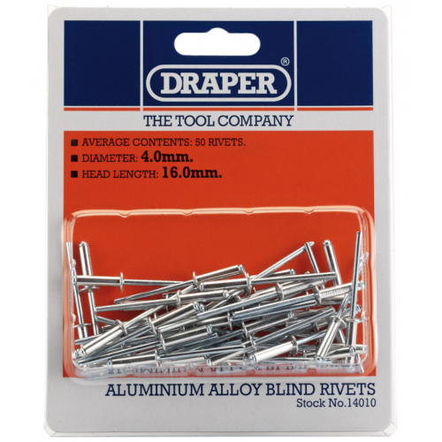 Draper 14010 4.0mmx16.0mm head length blind rivit's Pack of 50