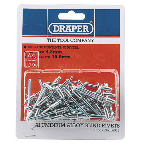 Draper 14011 4.8mmx10.0mm head length blind rivit's Pack of 50