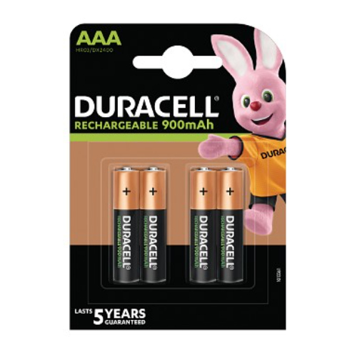 Duracell HR03PK4 AAA Staycharged Rechargeable batteries Pack of 4