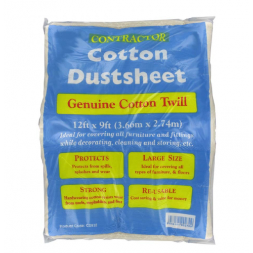 DEG Dust sheet 3.7m. x 2.8m.cotton twill with a Polythene Back