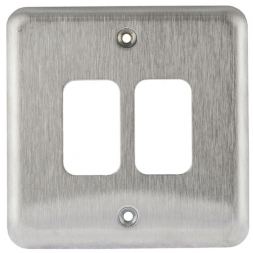 MK K3432BSS 2 Gang Brushed Stainless Steel Albany Plus Grid Plate