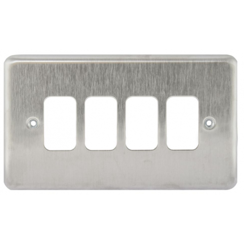 MK K3434BSS 4 Gang Brushed Stainless Steel Albany Plus Grid Plate