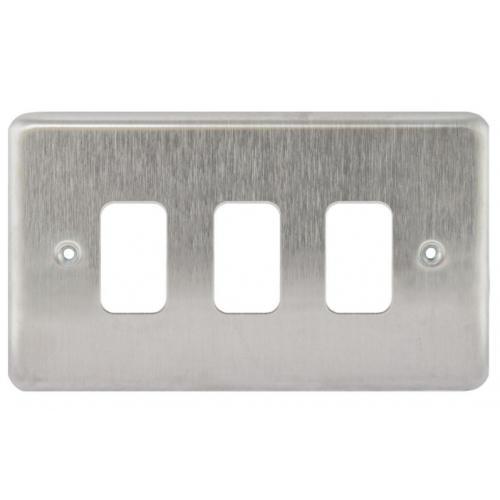 MK K3433BSS 3 Gang Brushed Stainless Steel Albany Plus Grid Plate
