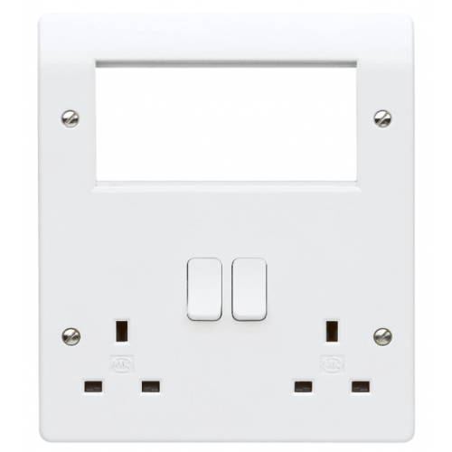 MK K2741WHI 2 gang Combination Plate with 4 x Euro Apertures White