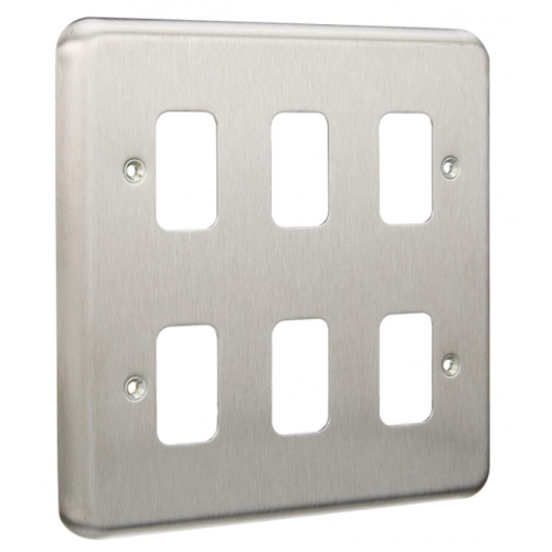 MK K3436BSS 6 Gang Brushed Stainless Steel Albany Plus Grid Plate